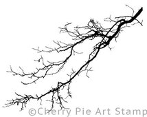 Winter tree branch- CLING RuBBer STAMP  by Cherry Pie Art Stamps