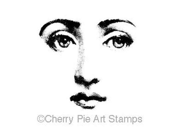 """Woman face features 2""""x2"""" CLING RuBBer STAMP by Cherry Pie Art Stamps"""