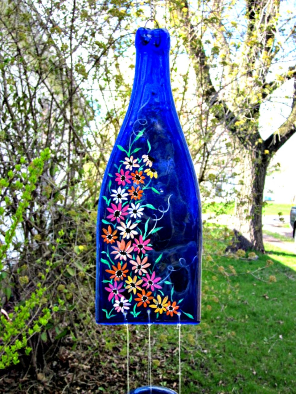 Wine Bottle Recycled Wind Chime Blue Bottle Hand Painted