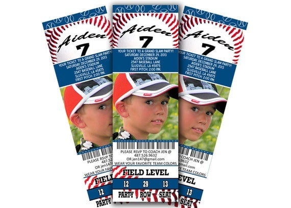Baseball party personalized photo ticket invitation.