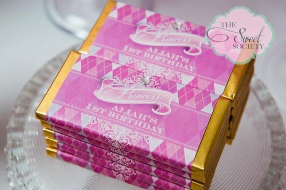 PINK ARGYLE PRINCESS Party Printable Candy Bar Wrappers