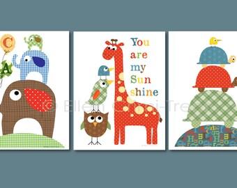 Baby boy nursery art-Kids Wall Art-colorful animals print set for boys