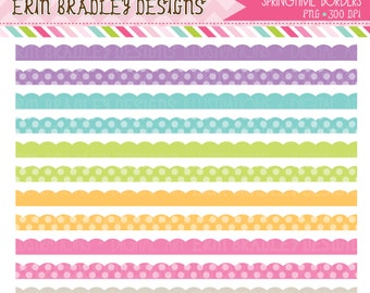 50% OFF SALE Springtime Clipart Borders Scalloped Clip Art Graphics Commercial Use