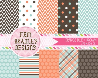 50% OFF SALE Blue Orange and Brown Commercial Use Digital Paper Pack