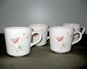 Vintage Tea or Coffee Mugs / Pink Flowers / Retro Cups / Serving / Coffee Cups