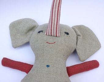 Elephant Stuffed Toy Animal Doll Softie Gray Linen Pink Red and White Stripe