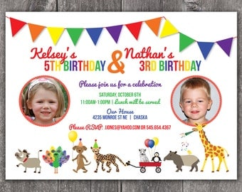 Animal Parade - Custom Photo Birthday Invitation Boy/Girl or Twins
