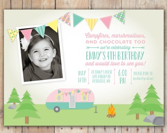 Retro Camping Trailer - Custom Photo Birthday Invitation for any age Girl
