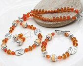Necklace, Bracelet and Earring Set Orange and Silver