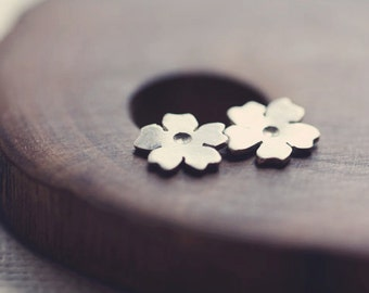 Tiny cherry blossom post earrings in sterling silver