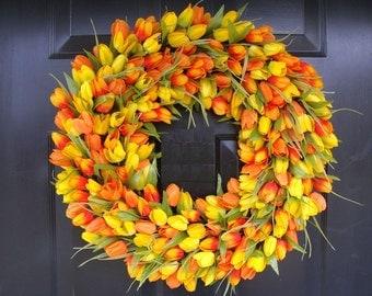 Sunny Tulip Spring Wreath- Tulip Wreath Year Round Wreath- Door Wreath- Wreath- Easter Wreath