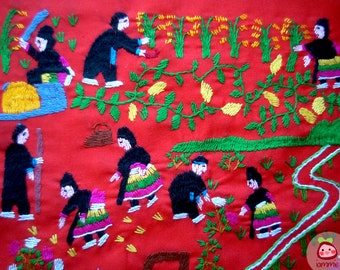 Hmong Fabric, Hmong textile, Lisu Fabric, hmong fabric, hill tribe, quilted, embroidered, sewn, red, bright, craft, fabric for crafting