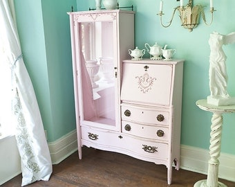 custom order antique pink shabby chic dresser desk secretary curio victorian distressed cottage office