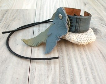 Leather Feather Cuff, Bohemian Bracelet or Anklet, Recycled, Adjustable, Sage and Smoke, Painted