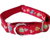 "Colorful Red Birds 1"" Dog Collar, Martingale, Harness or Leash"