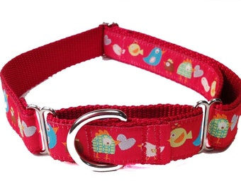 """Colorful Red Birds 1"""" Dog Collar, Martingale, Harness or Leash"""