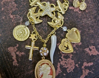 Faith is My Anchor:  Nautical Necklace Lucky Vintage Assemblage Gold Rhinestones Mother of Pearl Cameo Anchors Heart Cross Star Protection