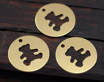 Teddy Bear Necklace, 70 Raw Brass Teddy Bear Tags, Findings, Charms  (16mm) Brs 1098 A0118