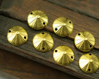 50 Raw Brass Bead Caps 2 Holes  (10 mm) A0554