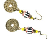 Chinese antique brass prosperity coin black white red chevron dangle earrings