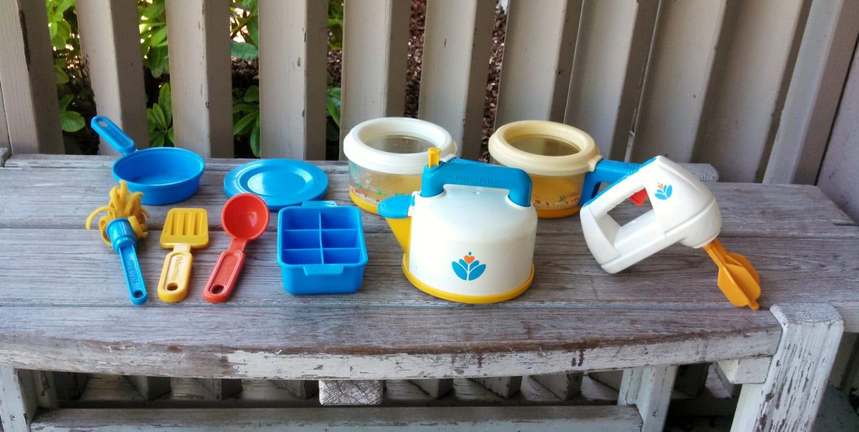 Rare Fisher Price Play Kitchen Set Teapot Mixer Pots Pans