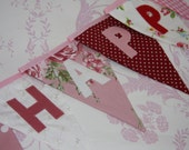 Happy Birthday Flag Banner Bunting with Bella Butterfly Red and Pink Custom made to order Birthday Party or Celebration or Photo prop