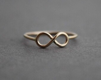 14k Gold Infinity Ring Petite Infinity ring boho indie fashion Wedding Anniversary birthday gift - Size 5.5 US