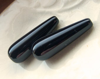 Smooth Polished Black Onyx Elongated Drops Pair