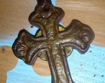 HOLIDAY SALE Faux Metal Gothic Cross Necklace in Brown