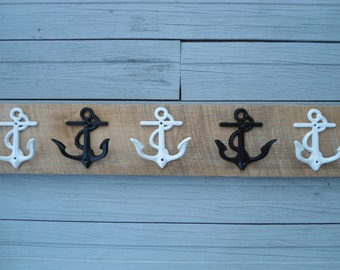 barnwood rustic beach home decor 5 anchor wall hooks towel rack Beach House Dreams pool bathroom nautical nursery boy's room mancave coastal