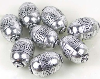 Large Barrel Acrylic Silver Metal Plated Craft Beads 28x18mm (8 pc) (e6499)