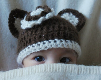 Baby Bear Hat Alpaca Brown Cream Flower Baby Girl Newborn to Toddler Sizes