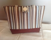 Striped Quilted Purse with Button