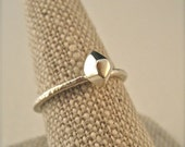 Silver Herkimer Diamond Ring - Geometric Design - Stackable - Faceted Rock Jewelry