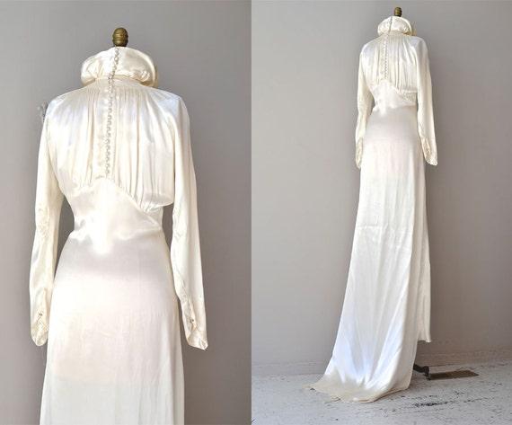 1930s Wedding Dress / Vintage 30s Dress / Cascata Gown