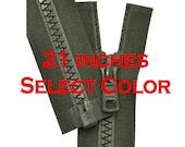 21 inch Vislon Jacket Zipper YKK 5 Molded Plastic Medium Weight  Separating Bottom - Select Color
