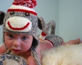 Sock Monkey Hat , Sock Monkey Diaper Cover , Newborn Photo Prop, Newborn Knitted Baby Hats