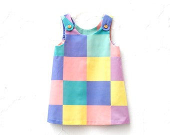 The Frances Dress - ORGANIC Girls Dress in Geometric Squares - Easter Party Pinafore Dress for Spring