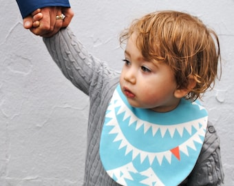 Shark BABY BIB -  Eco Friendly Modern Kids Food Bib with Organic Cotton Flannel - Nautical Sea Animals (Ready to Ship)