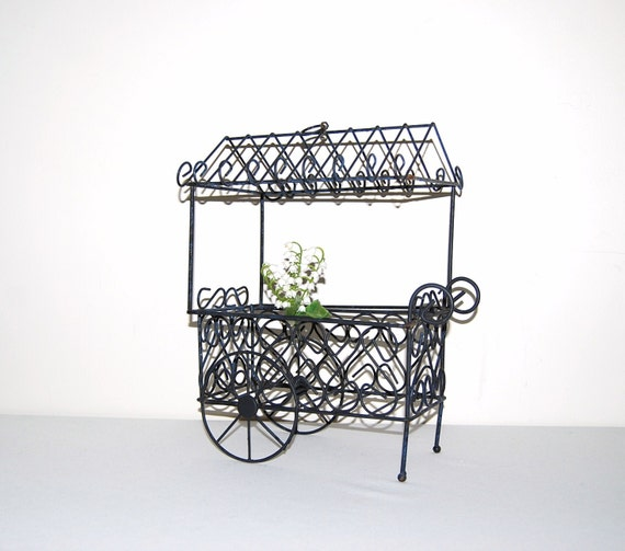 Black Flower 21st Century Op Art Set: Vintage Parisian Metal Flower Cart 70s