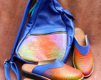 Handmade Leather ERGO BAG, with matching Clogs (optional),Colorful Airbrushed, Custom Made Size 5, 6, 7, 8, 9, 10