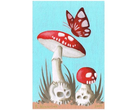 Magic Skull Shrooms, Acrylic Painting by Ryan Alizarine
