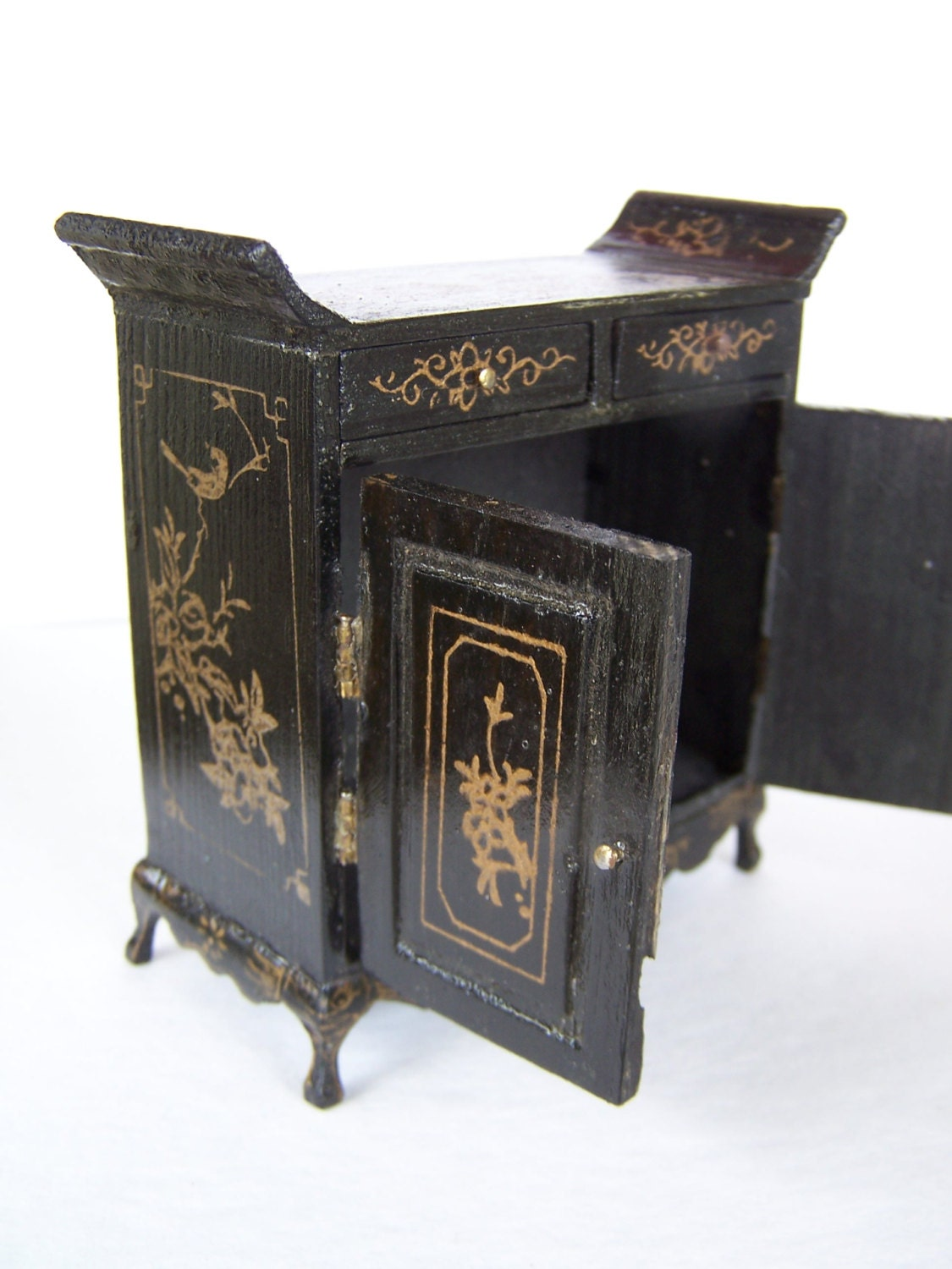 Vintage Doll Furniture Chinoiserie Black Lacquer Fujian