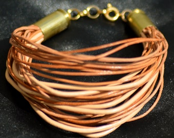 Upcycled Tan and Natural Leather and Bullet Casings Bracelet