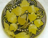 Czech Glass Button - Trans Yellow Glass Nouveau Trillium Flower w/ Black & Gold Accents