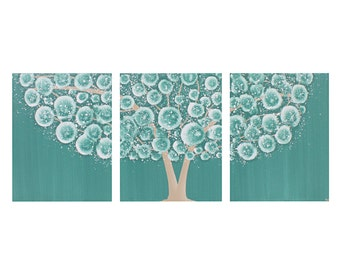 Teal Wall Art Decor - Tree Acrylic Painting on Triptych Canvas - Medium 35x14