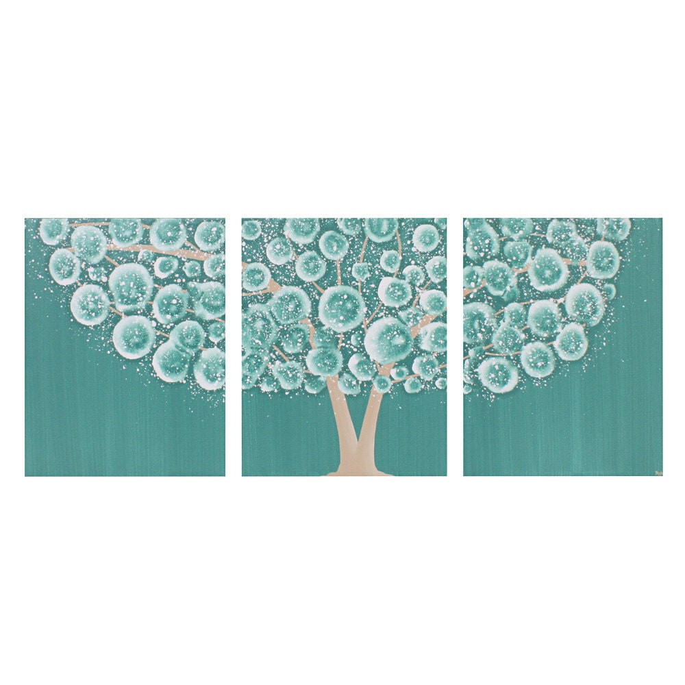 Teal wall art decor tree acrylic painting on triptych canvas for Teal wall art