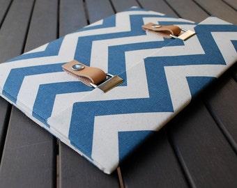 13 MacBook Case / 13 MacBook Air Case / 13 macbook pro sleeve / 11 Macbook Air Cover /13 Macbook Pro Retina Case - Chevron Blue Natural