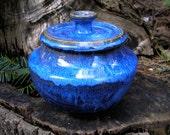 Blue Lagoon Cookie Jar, 32 oz. covered jar, lidded jar, goodie jar, Blue Lagoon glaze