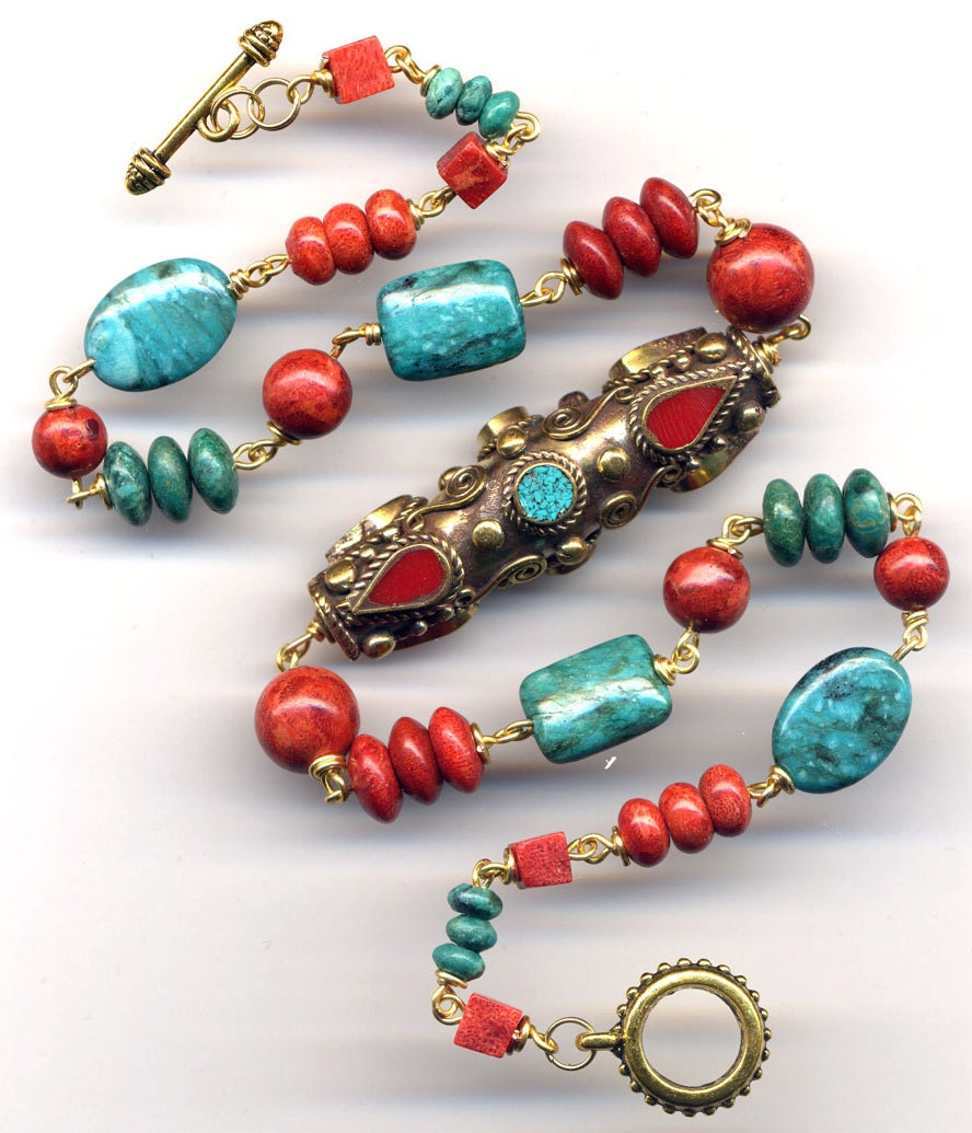 nepal turquoise and coral necklace prayer wheel nepal